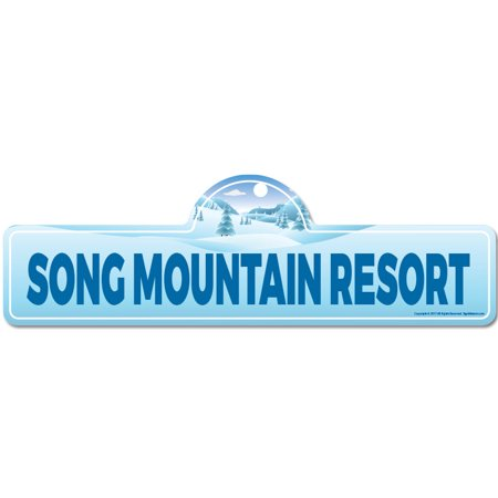 Song Mountain Resort Street Sign   Indoor/Outdoor   Skiing, Skier, Snowboarder, Décor for Ski Lodge, Cabin, Mountian House   SignMission personalized gift ()