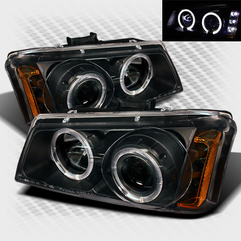 2003-2006 Chevy Silverado Twin Halo LED Projector Headlights Black Head Lights  Pair Left+Right 2004 2005