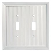 Elumina Cape Cod White Wood Wallplate, 2 Toggles