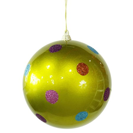 Candy Fantasy Green Polka Dot Shatterproof Christmas Ball Ornament 5.5