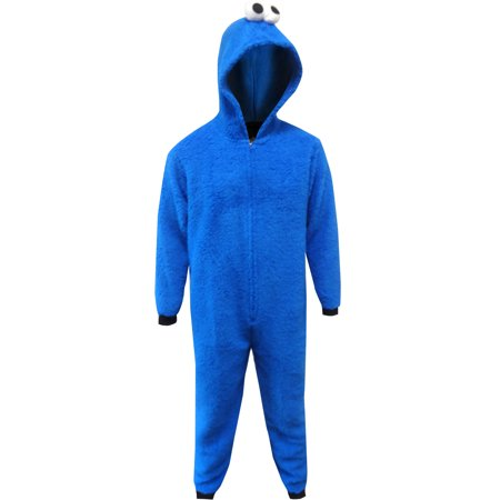 Sesame Street Cookie Monster Hooded Union Suit Mens Pajamas