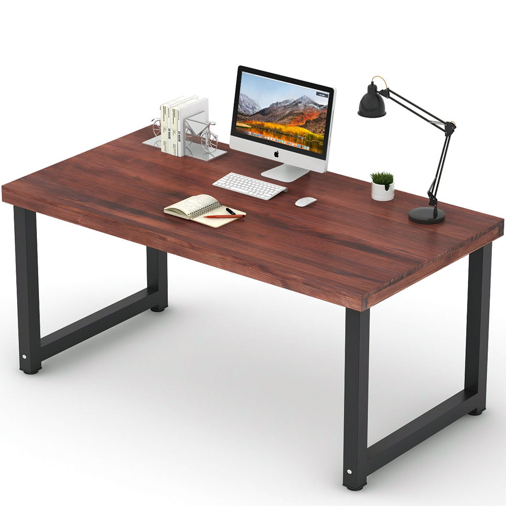 "Computer Desk Pc Laptop Wood Table Home Office Study: Tribesigns 55"" Rustic Solid Wood Computer Desk, Vintage"