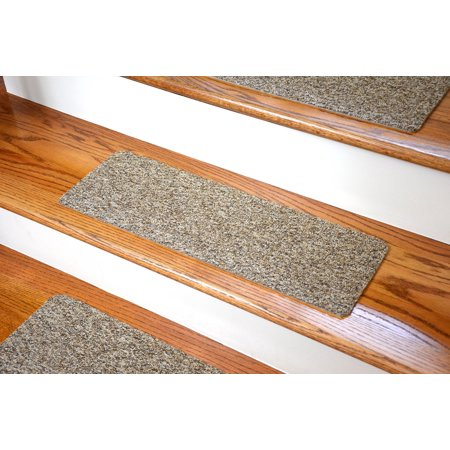 Dean Affordable Non-Skid DIY Peel & Stick Carpet Stair Treads - Color: Beige & Brown Tweed - Set of (Best Colour Carpet For Stairs)