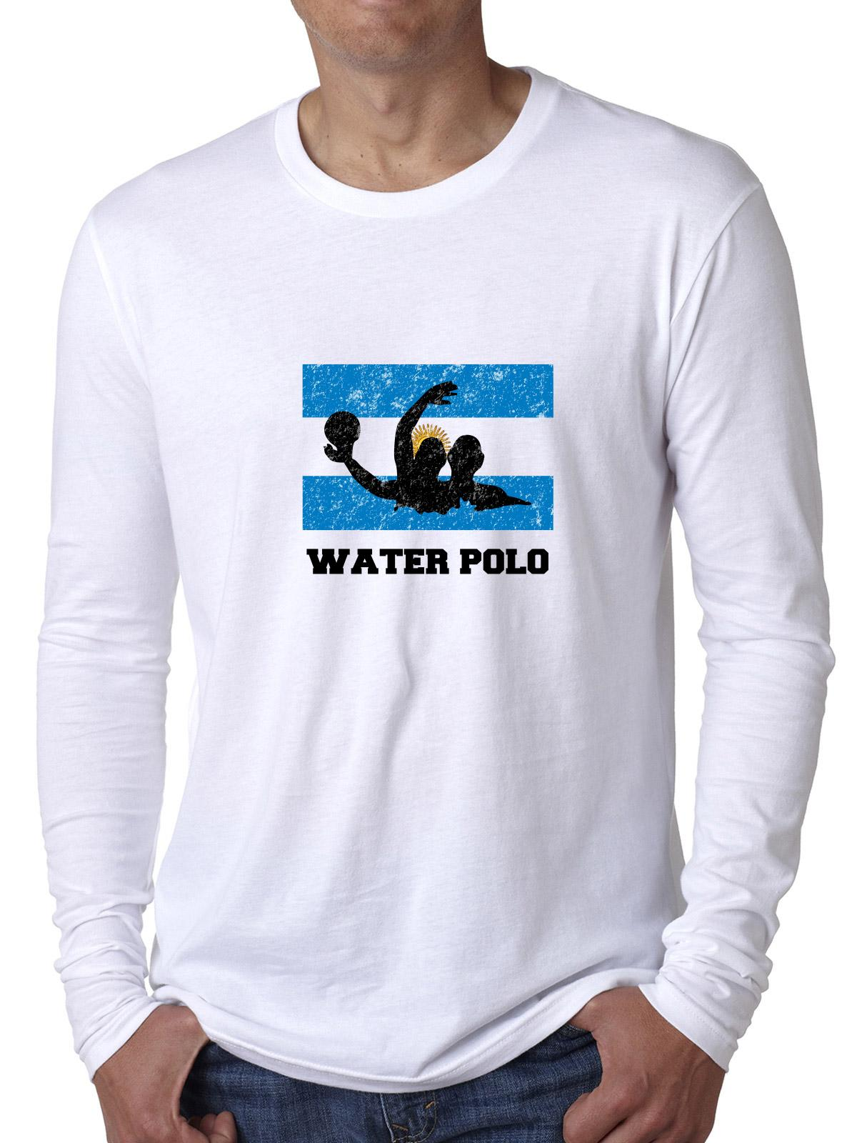 Argentina Olympic Water Polo Flag Silhouette Men's Long Sleeve T-Shirt by Hollywood Thread