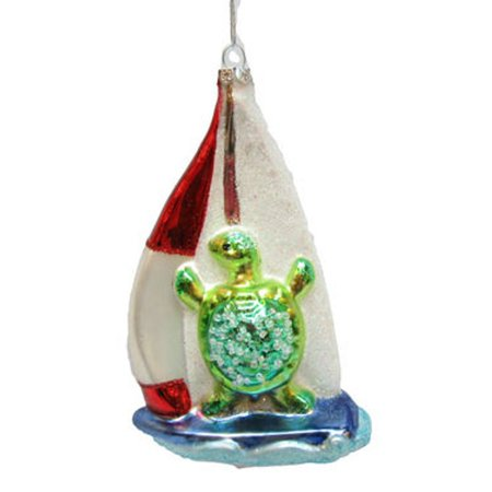 December Diamonds Sea Turtle Sailor On Sailboat Christmas Holiday Ornament Glass