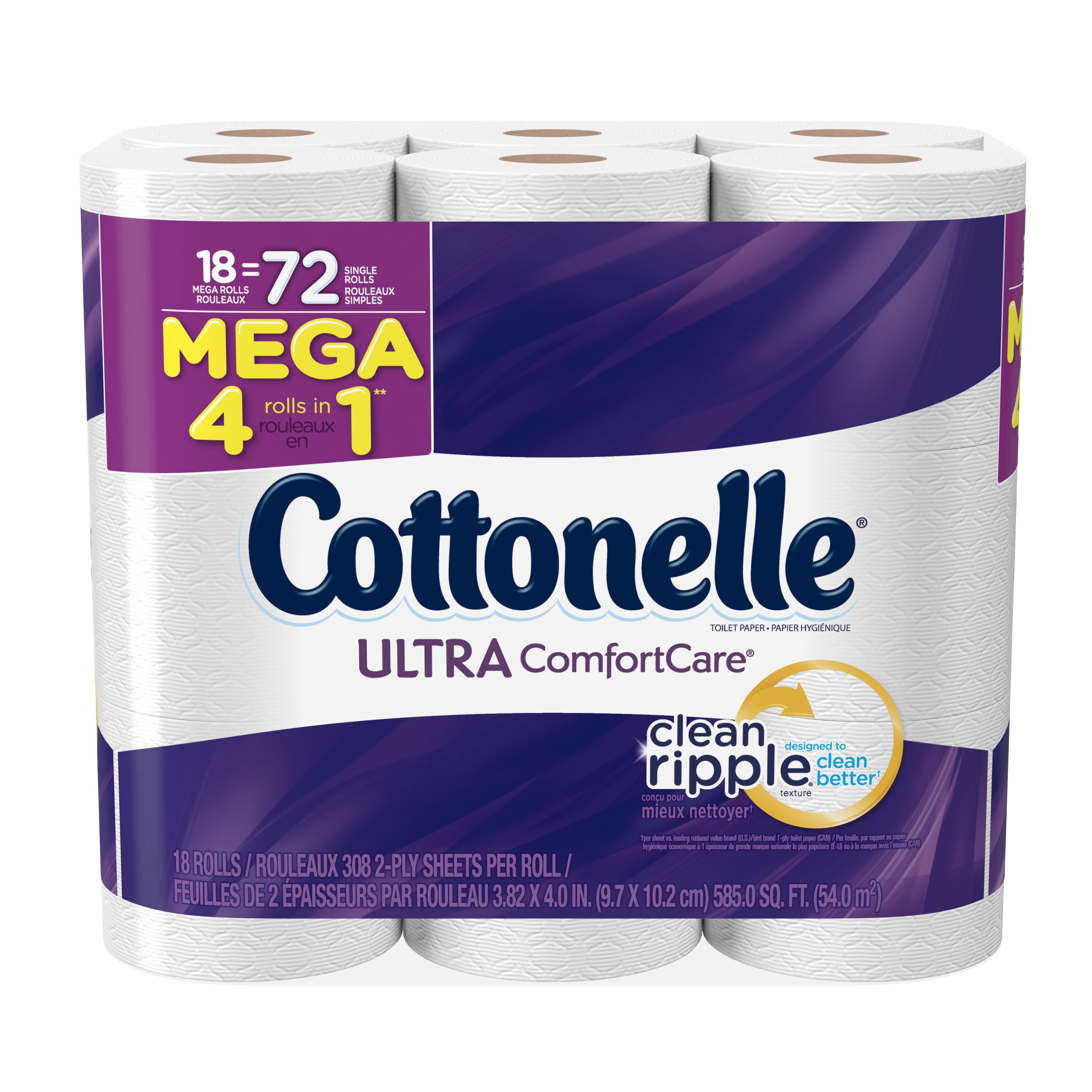 Cottonelle Toilet Paper, Ultra Comfort Care, 18 Mega Rolls by KIMBERLY-CLARK