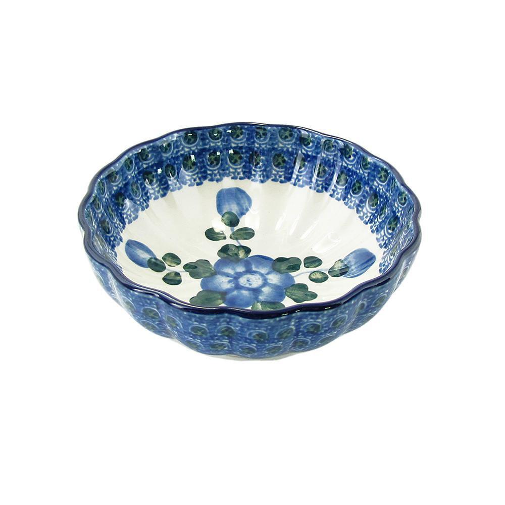 Polish Pottery 4.5'' Fluted Dessert Dish Handmade Boleslawiec StoNeware Pattern 023-163 by Polish Pottery Ceramika