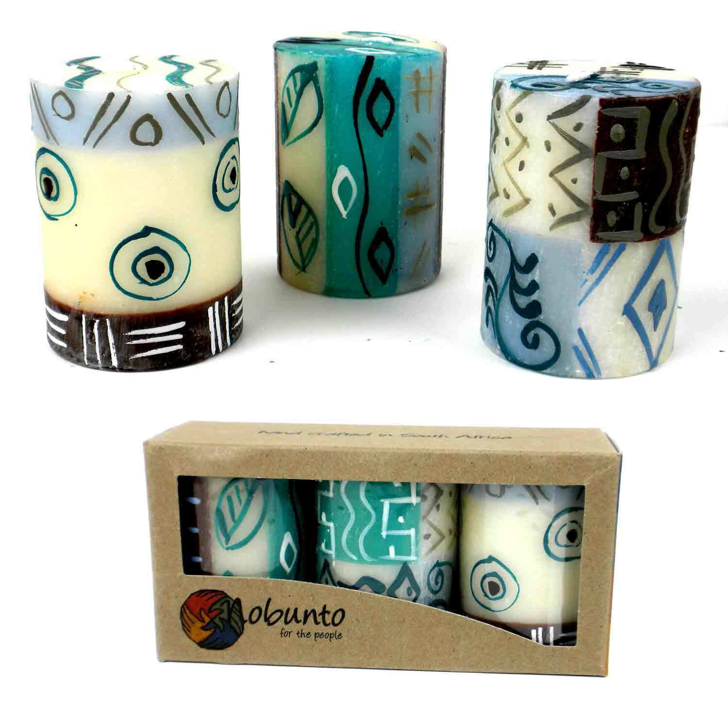 Global Crafts Set of Three Boxed Handmade Mini-Pillar Candles with Maji Design (South Africa)
