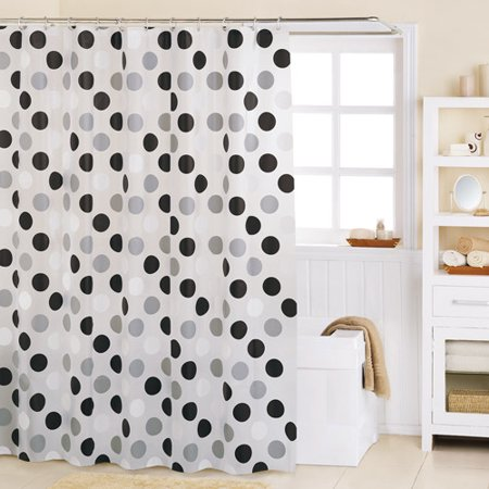 Mainstays a round peva shower curtain b for Black and white shower curtain