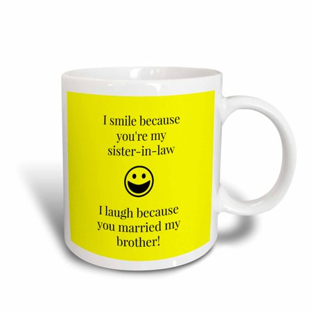 Mug Shot Background (3dRose Funny saying for sister in law on a yellow background, Ceramic Mug,)