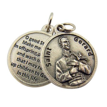 Silver Tone Catholic Patron Saint Gerard Medal Pendant with Prayer Back, 3/4 Inch