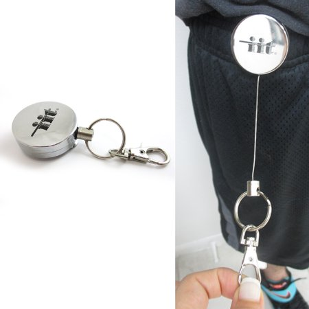 Steel Retractable Key Ring Clip On Pull Chain Id Holder Reel Belt Extends 26