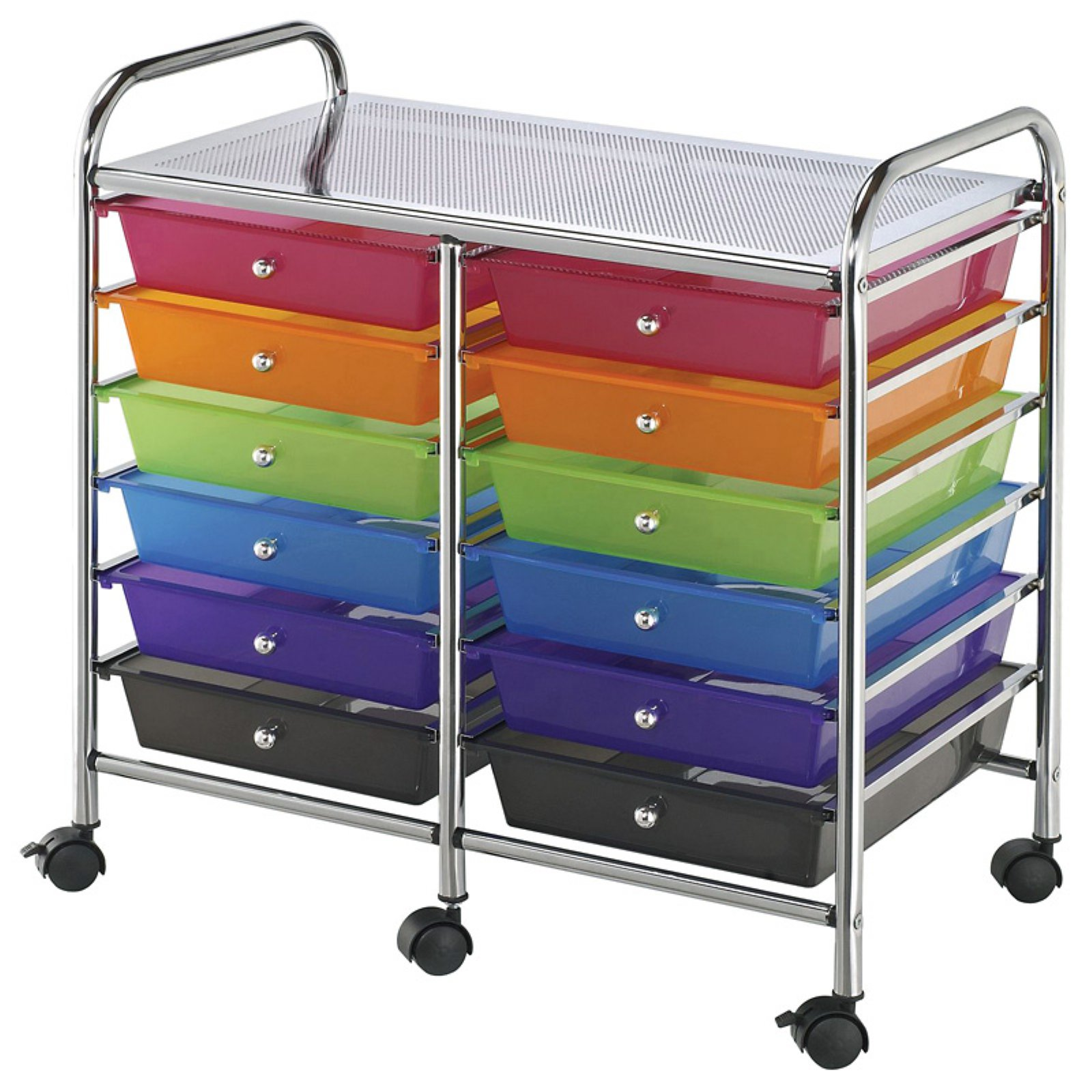 Double Storage Craft Cart with 12 Multicolor Drawers