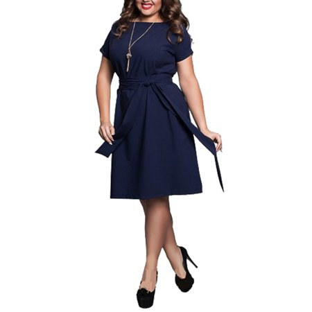 Nicesee Womens Plus Size Solid Color Short Sleeve Belt Dress Evening Party Cocktail (Plus Size Disco Dress)