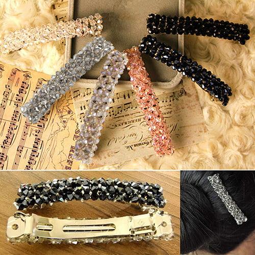 HiCoup Women's Fashion Bling Headwear Handmade Full Crystal Hair Clip Barrette Hairpin