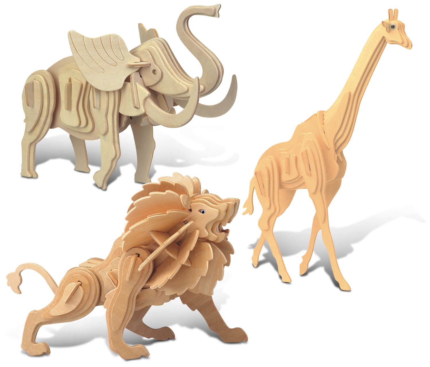 Puzzled Giraffe, Elephant and Lion Wooden 3D Puzzle Construction Kit by Puzzled Inc