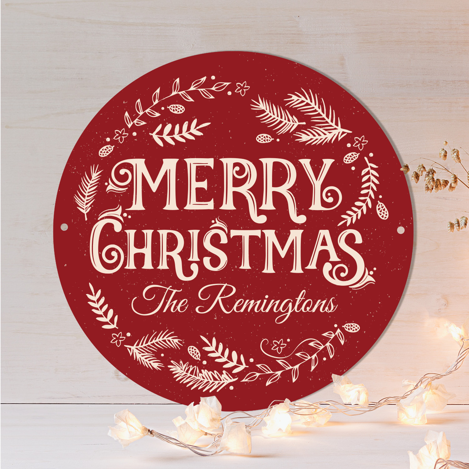 """Merry Christmas Personalized Tin Sign - 11.75"""" Wall Decor"""