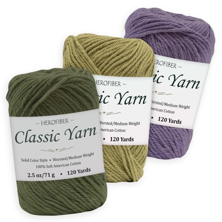 Cotton Yarn - 3 Solid Colors [2.5 oz Each] | Green Khaki + Olive + Purple Iris | Worsted/Medium Weight - Assortment for Knitting, Crochet, Needlework, Decor, Arts & Crafts Projects