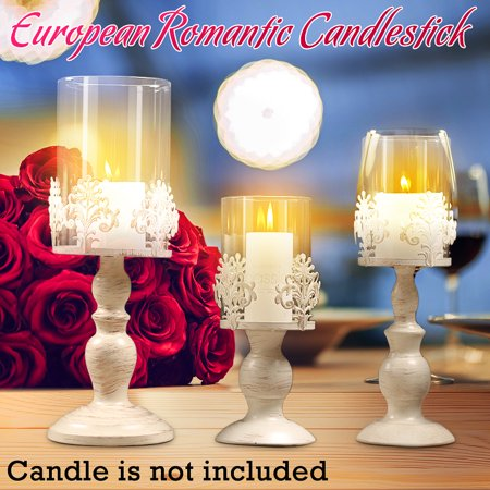 European Style Pillar Lantern Iron Candlestick Candle Holders Romantic Decoration Ornaments for Home Wedding Anniversary Party (Candlestick Pillar)