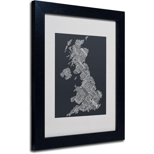 """Trademark Fine Art """"United Kingdom V"""" Matted Framed Art by Michael Tompsett, Black Frame"""