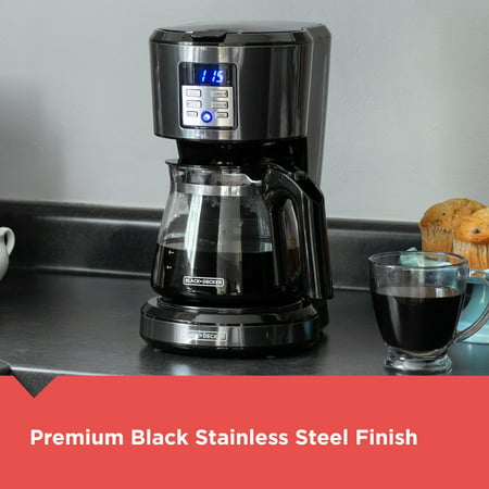 BLACK+DECKER 12-Cup Coffeemaker, Programmable, Exclusive Vortex Technology, Black/Stainless Steel , CM1331BS