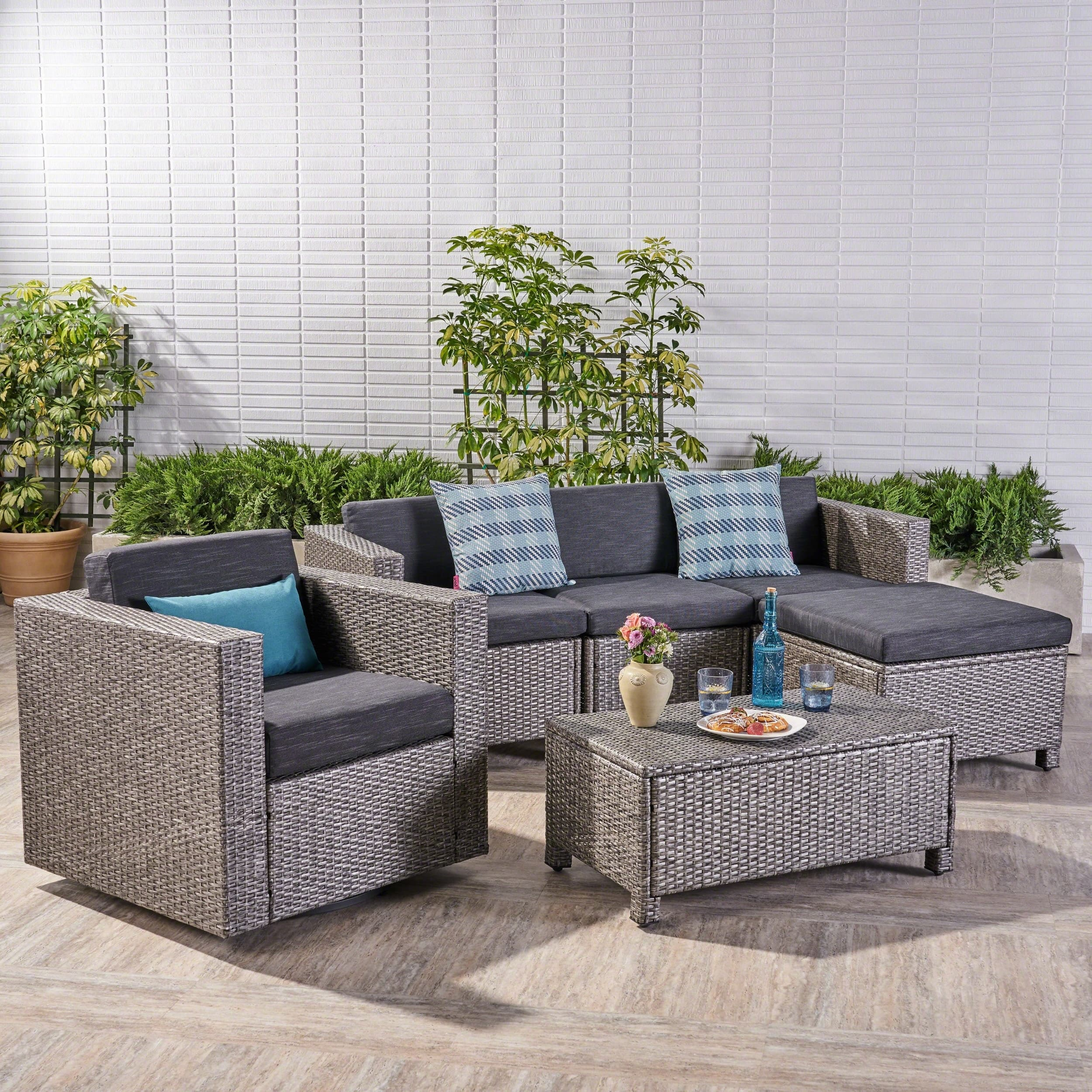 Christopher Knight Home Puerta Outdoor 4 Seater L-Shaped Sofa Set with Cushions by