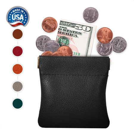 genuine leather squeeze coin purse, pouch made in u.s.a. change holder for men/woman size 3.5 x 3.5 (Sock Coin Purse)