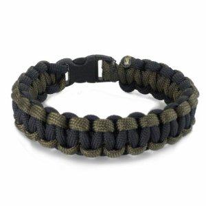 Knotty Boys 201 9 Diameter Large Single Weave Black & Olive Drab Survival Bracelet with Hand Tied N Multi-Colored