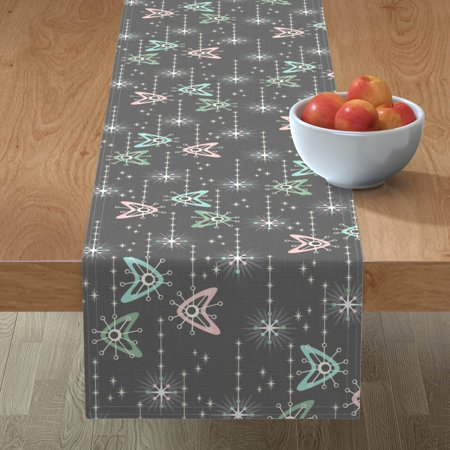 Image of Table Runner Boomerangs Retro Atomic Atomic Era 1950S Starbursts Cotton Sateen