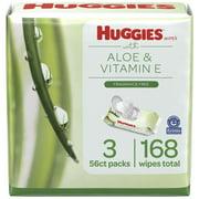 Huggies Aloe & Vitamin E Wipes, Unscented, 3 Flip-Top Packs (168 Wipes Total)