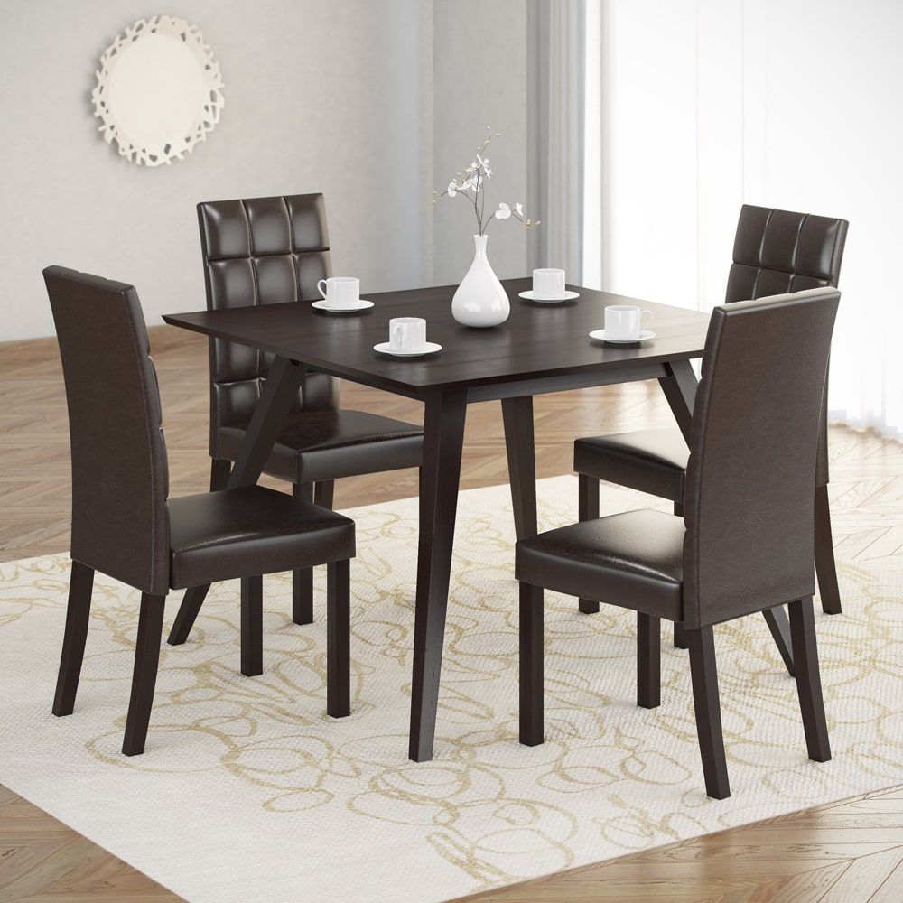 CorLiving  Atwood 5-piece Dining Set with Dark Brown Leat...