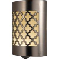 GE LED CoverLite Plug-In Night Light, Moroccan Design, Brushed Nickel, 29847
