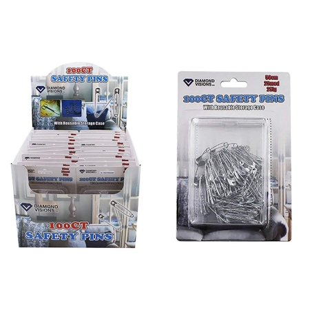 Diamond Visions 11-1658 100 Count Small Medium Large Safety Pins MultiPack  Each With a Reusable Case (200 Safety Pins)