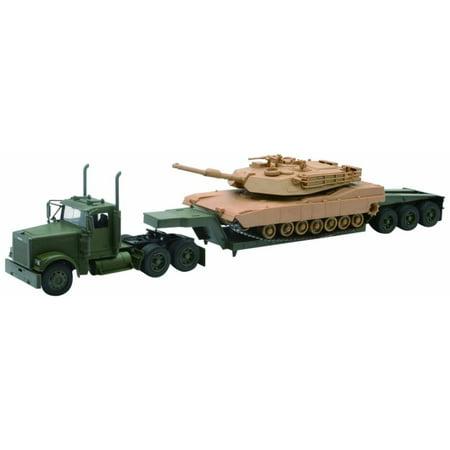 2bb1e4a43a7b88 US Army Freightliner Lowboy w/ M1A1 Abrams Tank, Green & Tan - New Ray  SS-61285 - 1/32 Scale Model Military Trailer - Walmart.com