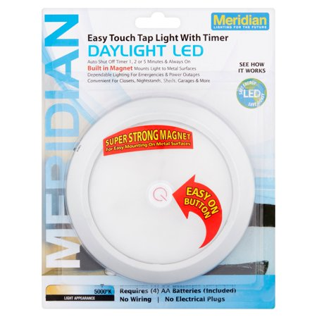 Meridian Led Push Button Tap Light  Silver