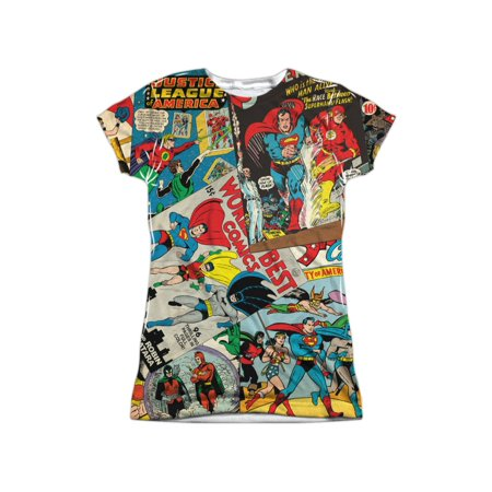 JLA DC Comics Justice League Comics Collage Juniors Front/Back Print T-Shirt - Tm And Dc Comics