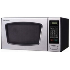 Emerson 0.90-Cubic Foot Microwave Oven, Stainless Steel and Black