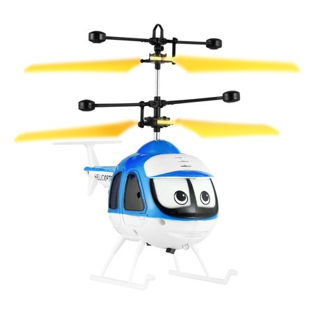Blue QX801 Electric Mini RC Helicopter Induction Flying Toys Cartoon Remote Control Drone Aircraft Plane Floating Toys Best Gift for Kids