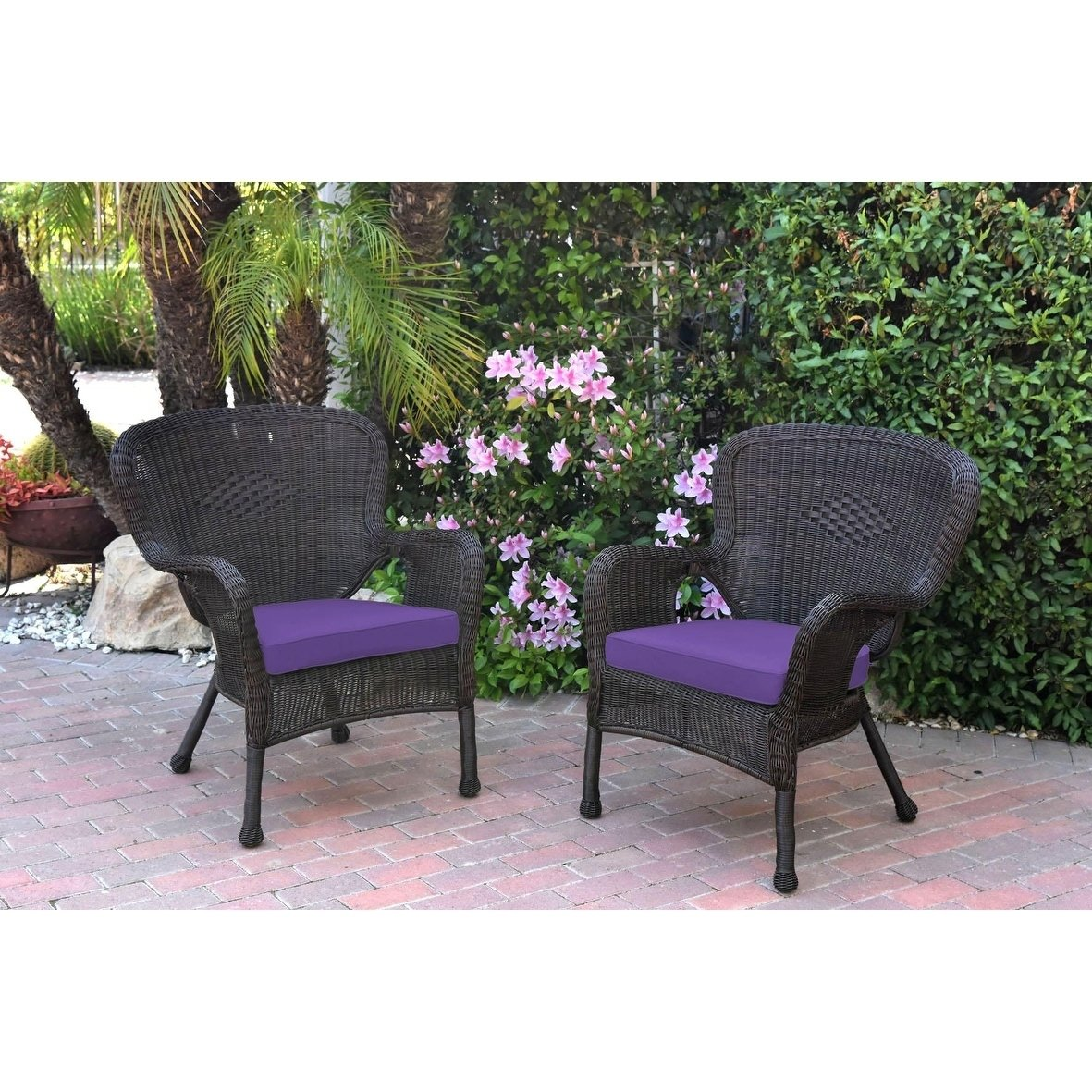 Jeco Windsor Resin Wicker Outdoor Patio Arm Chair - Set of 2