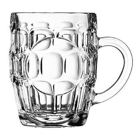 Traditional British Imperial half pint Dimple Beer Glass with etched seal. - Half Pints Beer