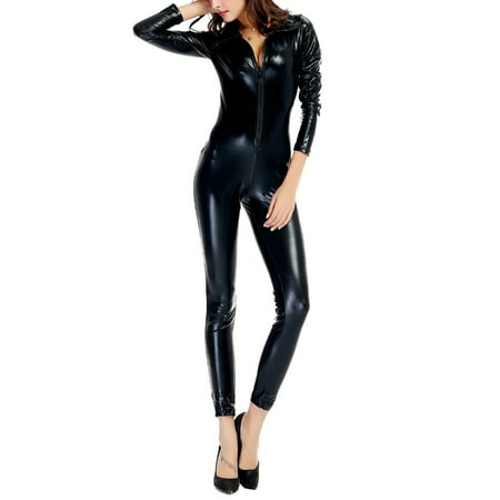 High Quality Black Red Faux leather Shiny Pole Dance Costume Club Lingerie Sexy Latex PVC Jumpsuit Cat Women Catsuit (Ready To Ship Dance Costumes)