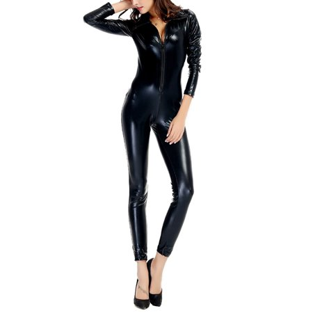 Quality Adult Costumes (High Quality Black Red Faux leather Shiny Pole Dance Costume Club Lingerie Sexy Latex PVC Jumpsuit Cat Women)