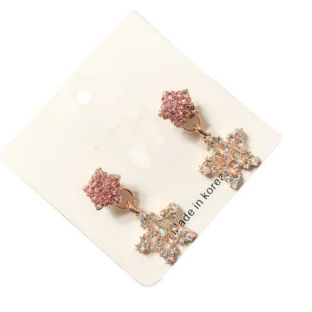 Ustyle 1 Pair Crystal Heart Star Drop Earrings Women Girls Lady 925 Silver Pin Drop Dangle Earrings - image 3 de 9