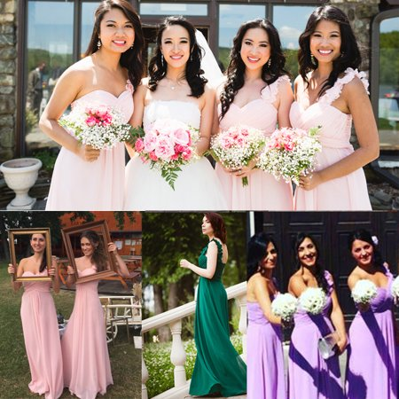 Women's Flower One Shoulder Empire Waist Floor Length Bridesmaids Dresses 09768 (Aqua 4 US)