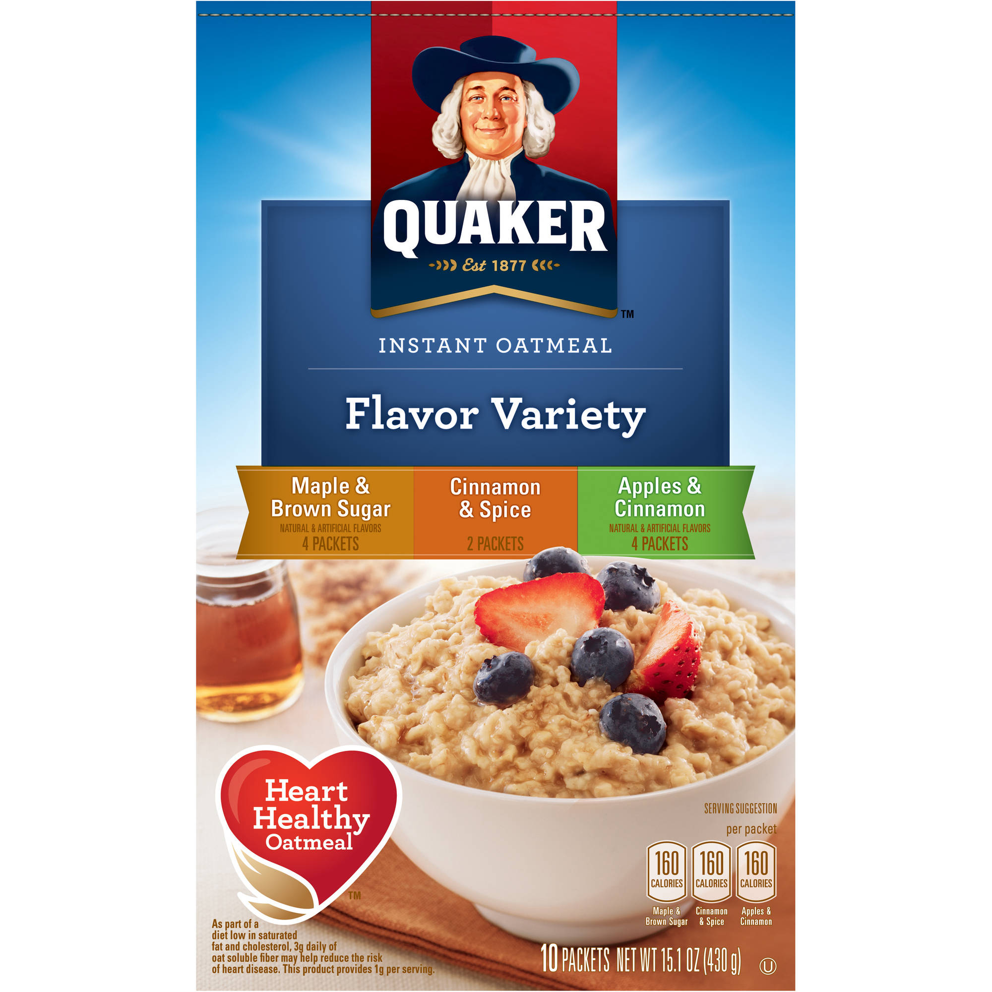 Quaker Flavor Variety Instant Oatmeal, 10 count, 15.1 oz