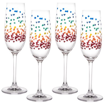 G For Gifts (4 Pack) Rainbow Confetti Hearts 6oz Champagne Flutes Bulk Set Of 4 Glasses For - Champagne Glasses For Wedding