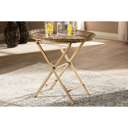 Baxton Studio Sabah Traditional Moroccan Inspired Matte Antique Gold Finished Metal Foldable Accent Tray Table ()