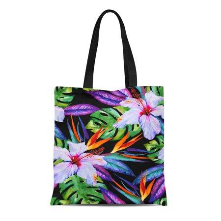 Hibiscus Bags - SIDONKU Canvas Tote Bag Watercolor Exotic Pattern Hibiscus Plumeria Monstera Palm Bird Reusable Shoulder Grocery Shopping Bags Handbag