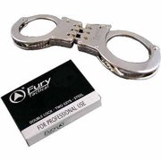 Fury Lightweight Double Lock Hinged Handcuffs, Chrome Silver