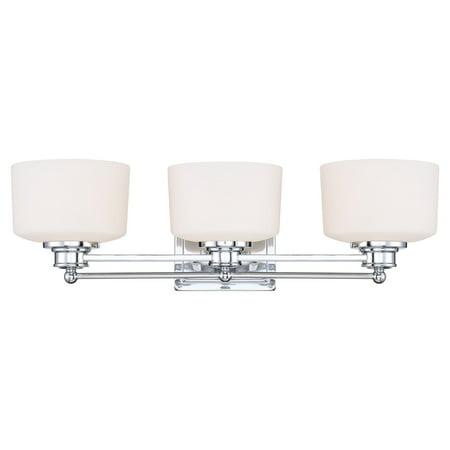 - 3 Light - Vanity - Fixture - Satin White Glass